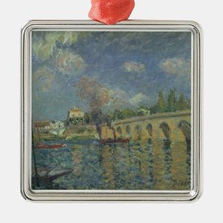 Ornement Carré Argenté Alfred Sisley   le pont