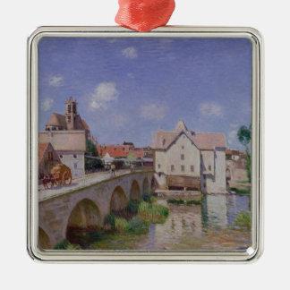 Ornement Carré Argenté Alfred Sisley   le pont chez Moret
