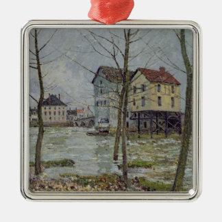Ornement Carré Argenté Alfred Sisley | les moulins au Moret-sur-Loing