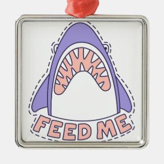 Ornement Carré Argenté Alimentez-moi le requin