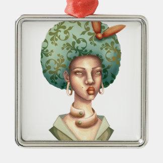 Ornement Carré Argenté Allez avec pour - Madame avec l'art unique d'Afro