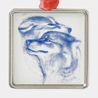 Ornement Carré Argenté Alpha art d'amour de loups