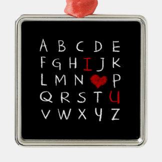 Ornement Carré Argenté Alphabet d'amour