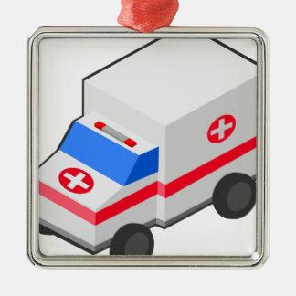 Ornement Carré Argenté Ambulance