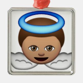 Ornement Carré Argenté amour de halo d'emoji d'ange de bébé