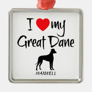 Ornement Carré Argenté Amour de la coutume I mon great dane