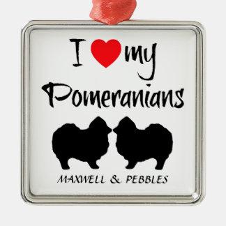 Ornement Carré Argenté Amour de la coutume I mon Pomeranians