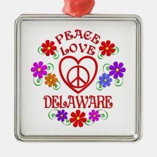 Ornement Carré Argenté Amour Delaware de paix
