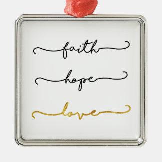 Ornement Carré Argenté Amour d'espoir de foi