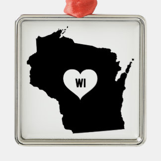 Ornement Carré Argenté Amour du Wisconsin