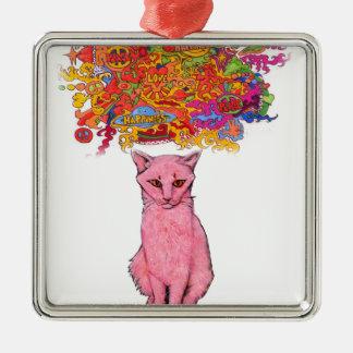 Ornement Carré Argenté Amour et bonheur Kitty de paix