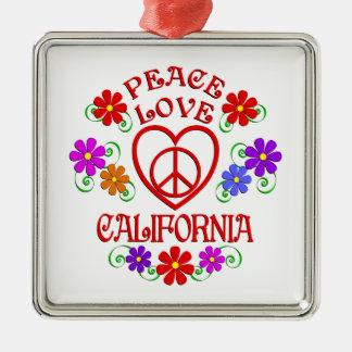 Ornement Carré Argenté Amour la Californie de paix
