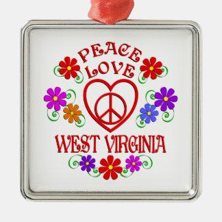 Ornement Carré Argenté Amour la Virginie Occidentale de paix
