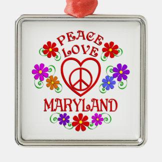 Ornement Carré Argenté Amour le Maryland de paix