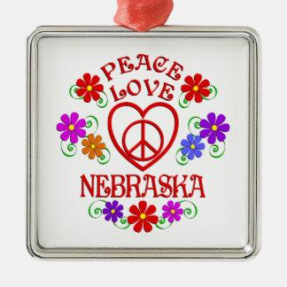 Ornement Carré Argenté Amour Nébraska de paix