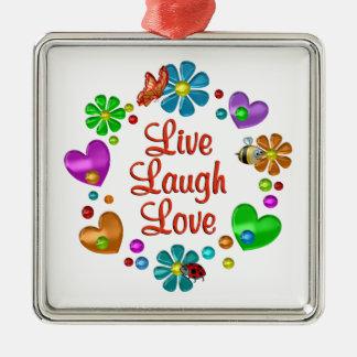 Ornement Carré Argenté Amour vivant de rire d'amusement