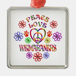 Ornement Carré Argenté Amour Weimaraners de paix