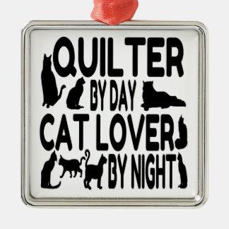 Ornement Carré Argenté Amoureux des chats Quilter