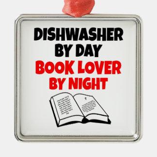 Ornement Carré Argenté Amoureux des livres de lave-vaisselle