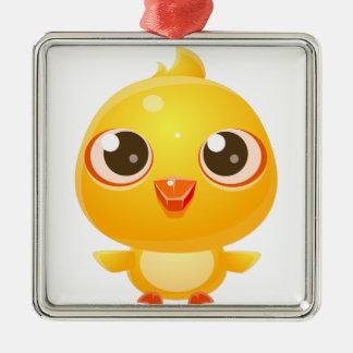 Ornement Carré Argenté Animal de bébé de poulet dans le style doux Girly