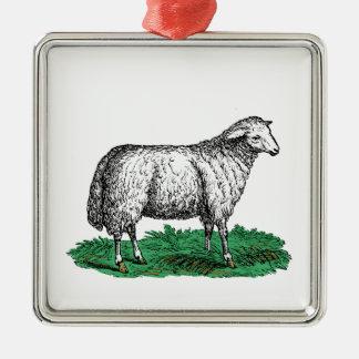 Ornement Carré Argenté Animaux de ferme vintages de brebis de moutons