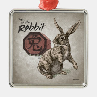 Ornement Carré Argenté Année de l'art chinois de zodiaque de lapin