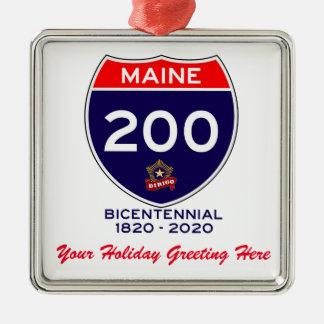 Ornement Carré Argenté Anniversaire personnalisé du Maine 200th