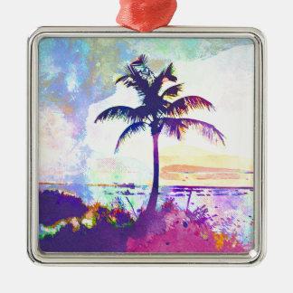 Ornement Carré Argenté Aquarelle abstraite - coucher du soleil I de plage