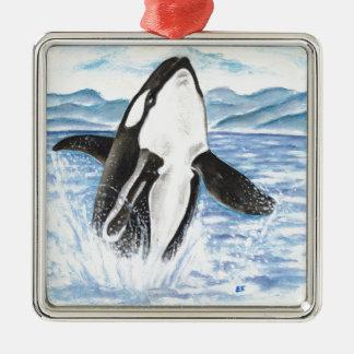 Ornement Carré Argenté Aquarelle ouvrant une brèche la baleine d'orque