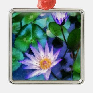 Ornement Carré Argenté Aquarelle pourpre de Lotus