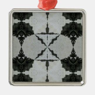 Ornement Carré Argenté Araignée, noir et gris de loup de kaléidoscope