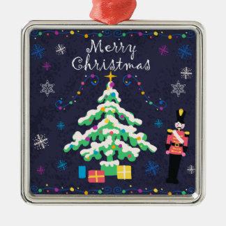 Ornement Carré Argenté Arbre de Joyeux Noël et décor d'ornements