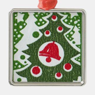 Ornement Carré Argenté Arbre de Noël