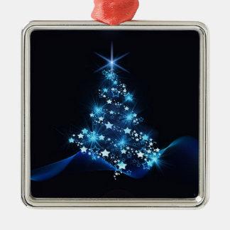 Ornement Carré Argenté arbre de Noël allumant le bleu