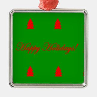 Ornement Carré Argenté Arbre de Noël rouge de vacances heureuses vertes