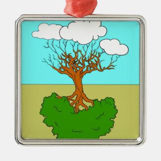 Ornement Carré Argenté arbre renversé