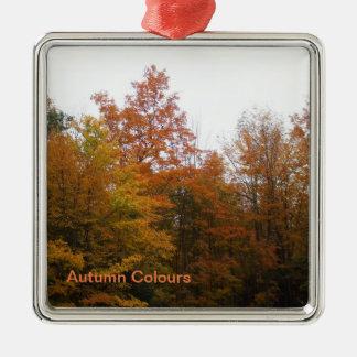 Ornement Carré Argenté Arbres d'automne pour votre arbre de Noël de