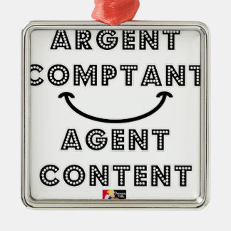 Ornement Carré Argenté Argent Comptant Agent Content