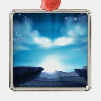 Ornement Carré Argenté Arrière - plan de lever de soleil de montagne de