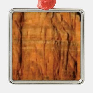 Ornement Carré Argenté arrière - plan rouge de roche