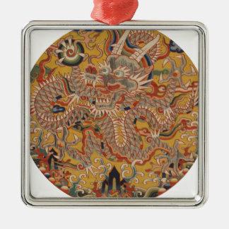 Ornement Carré Argenté Art chinois asiatique impérial de dragon de Ming
