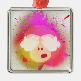 Ornement Carré Argenté Art créatif superbe de peinture de jet d'Emoji de