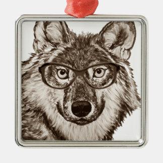Ornement Carré Argenté Art de ballot de loup