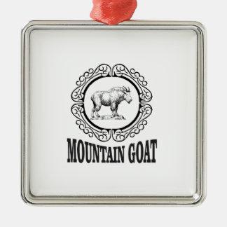 Ornement Carré Argenté art de chèvre de montagne