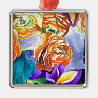 Ornement Carré Argenté Art de couleur pour aquarelle de Ranunculus et