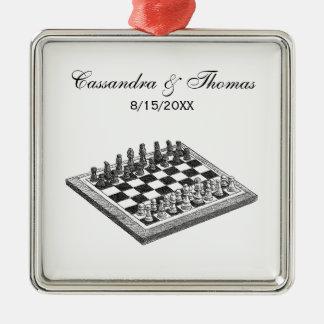 Ornement Carré Argenté Art de cru d'échiquier et de pièces d'échecs