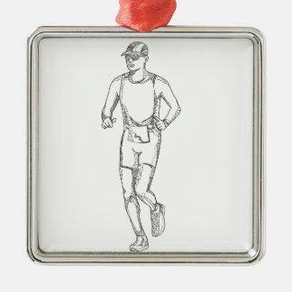 Ornement Carré Argenté Art de griffonnage de fonctionnement de marathon