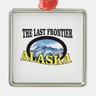 Ornement Carré Argenté art de logo de l'Alaska