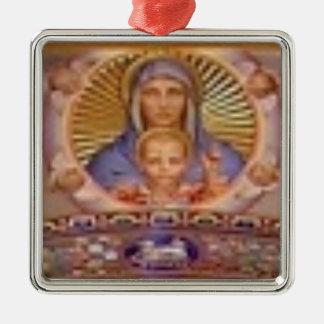 Ornement Carré Argenté art de Mary et d'enfant
