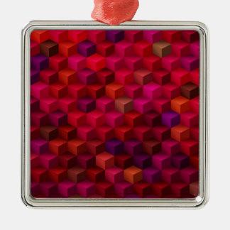 Ornement Carré Argenté Art de motif de cube en cubisme de rouge cramoisi